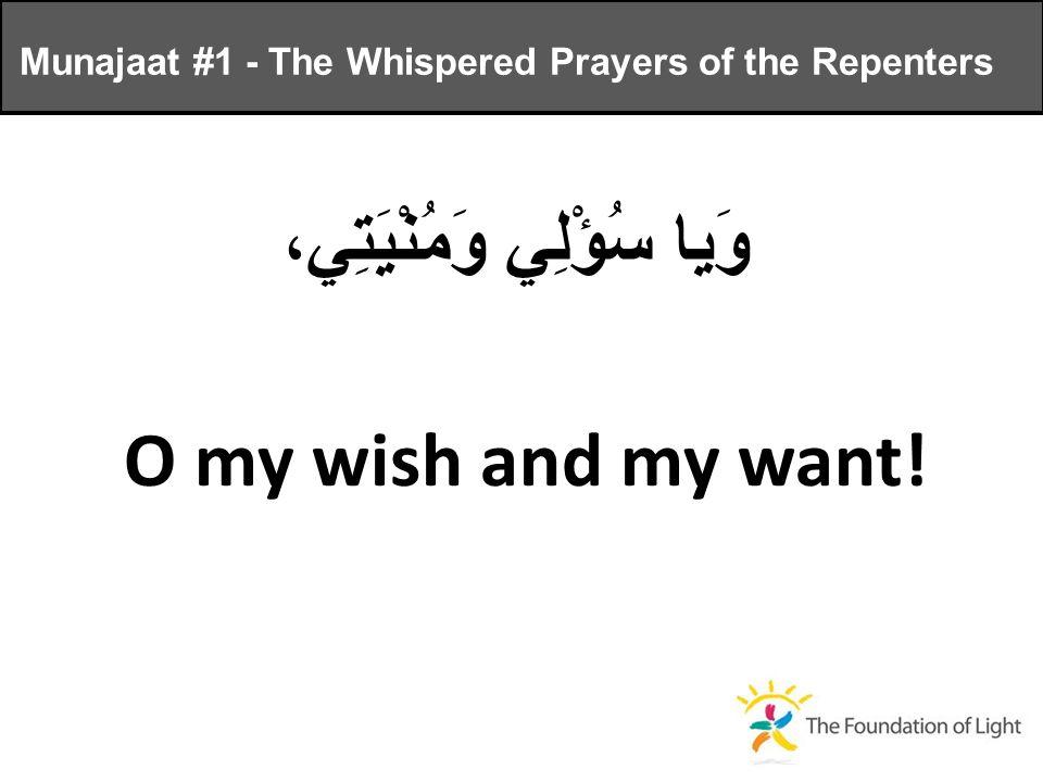 وَيا سُؤْلِي وَمُنْيَتِي، O my wish and my want.