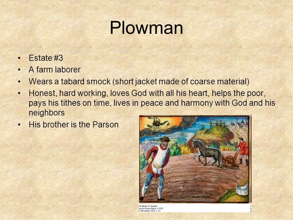Plowman Estate #3 A farm laborer Wears a tabard smock (short jacket made of coarse material) Honest, hard working, loves God with all his heart, helps