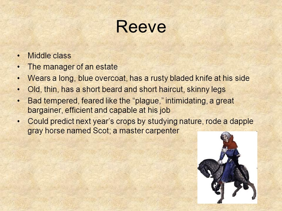 Reeve Middle class The manager of an estate Wears a long, blue overcoat, has a rusty bladed knife at his side Old, thin, has a short beard and short h