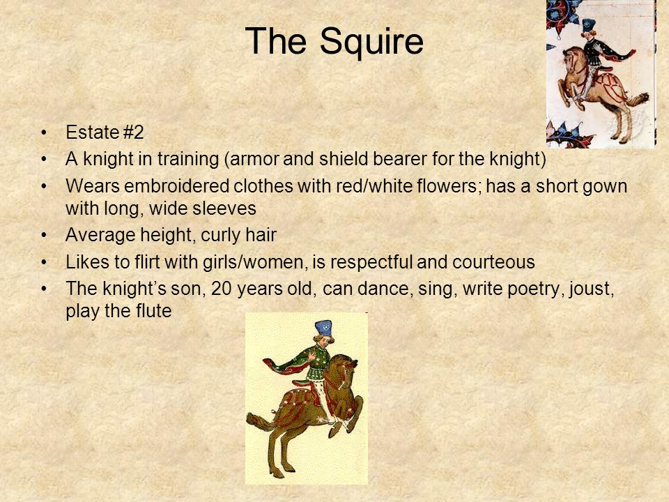 The Squire Estate #2 A knight in training (armor and shield bearer for the knight) Wears embroidered clothes with red/white flowers; has a short gown with long, wide sleeves Average height, curly hair Likes to flirt with girls/women, is respectful and courteous The knight's son, 20 years old, can dance, sing, write poetry, joust, play the flute