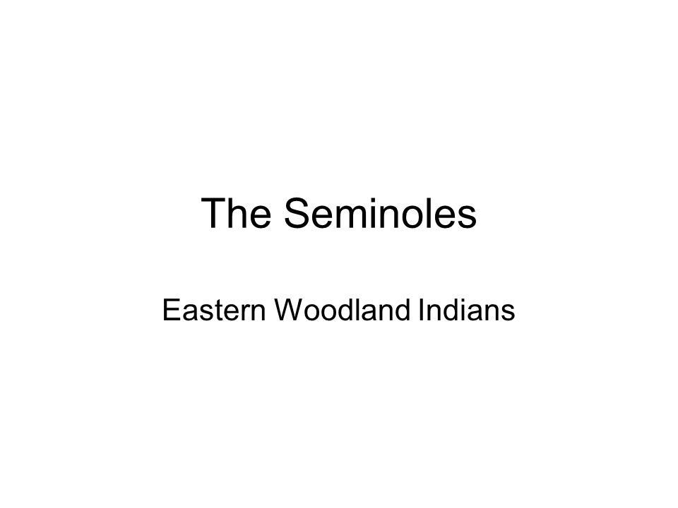 The Seminoles Eastern Woodland Indians