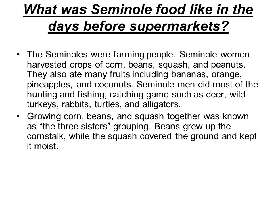What was Seminole food like in the days before supermarkets? The Seminoles were farming people. Seminole women harvested crops of corn, beans, squash,