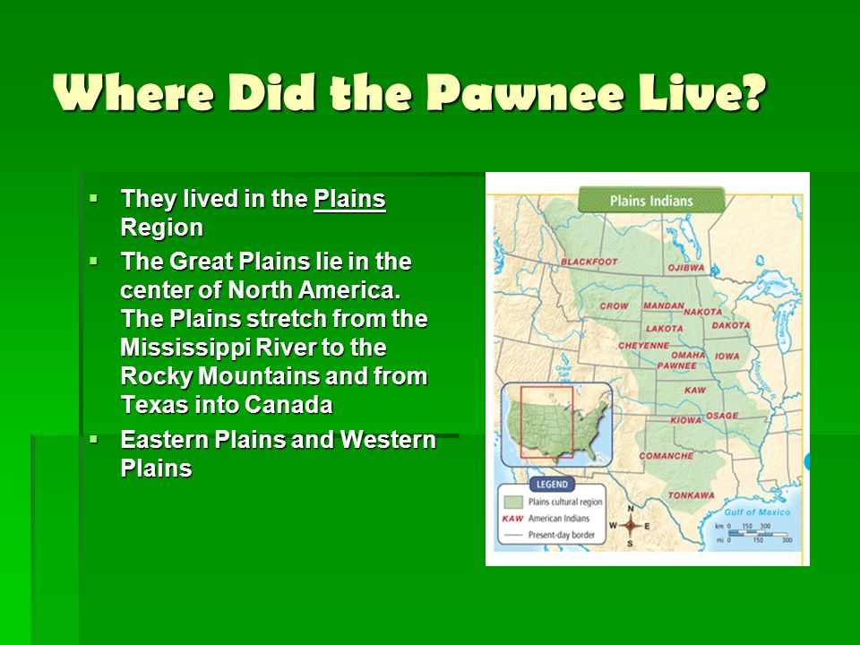 Where Did the Pawnee Live?  They lived in the Plains Region  The Great Plains lie in the center of North America. The Plains stretch from the Missis
