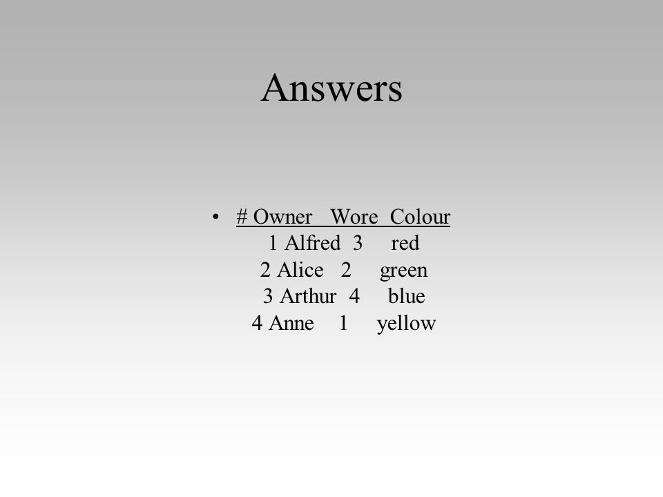 Answers # Owner Wore Colour 1 Alfred 3 red 2 Alice 2 green 3 Arthur 4 blue 4 Anne 1 yellow