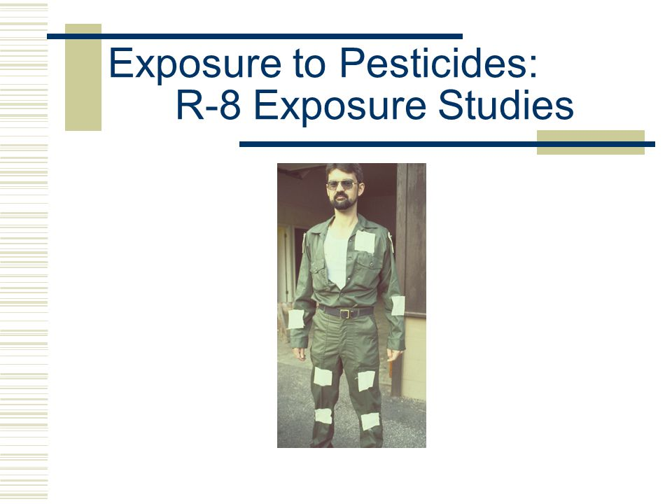 Exposure to Pesticides: R-8 Exposure Studies  Clayton, Georgia Site; foliar Roundup 2-3' tall, low-density brush Mixture in nurse tank Mixer wore Playtex latex gloves Solo backpack sprayers, Gunjet with 2503 tip 2/5 wore leather gloves during application; 3/5 no gloves