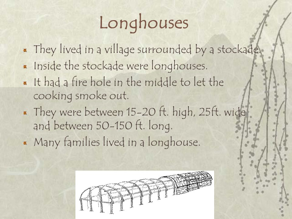 Longhouses They lived in a village surrounded by a stockade.