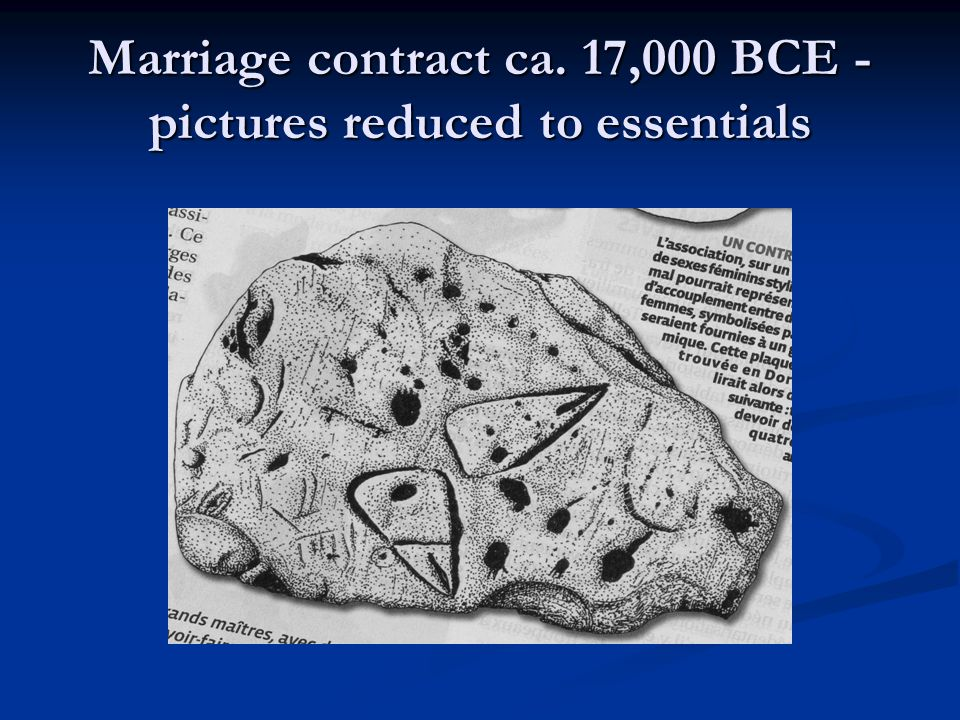 Marriage contract ca. 17,000 BCE - pictures reduced to essentials