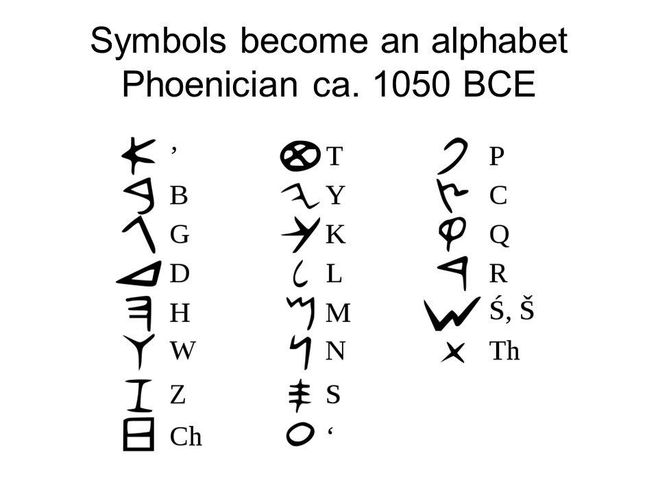 Symbols become an alphabet Phoenician ca. 1050 BCE