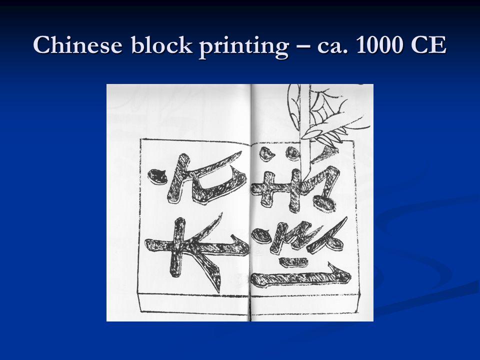 Chinese block printing – ca. 1000 CE