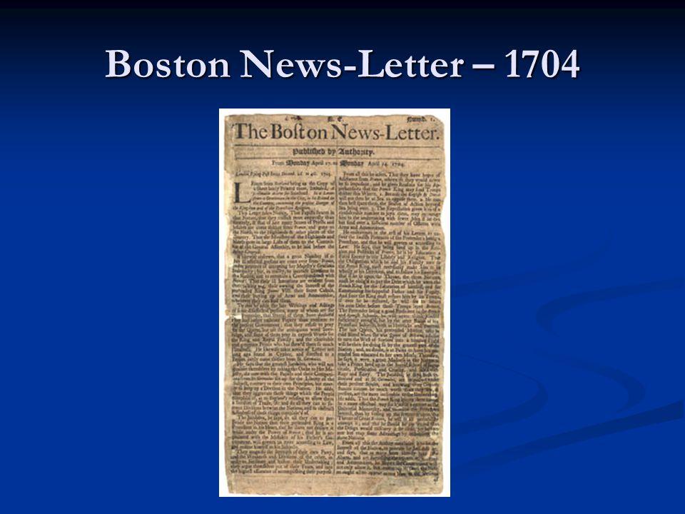 Boston News-Letter – 1704