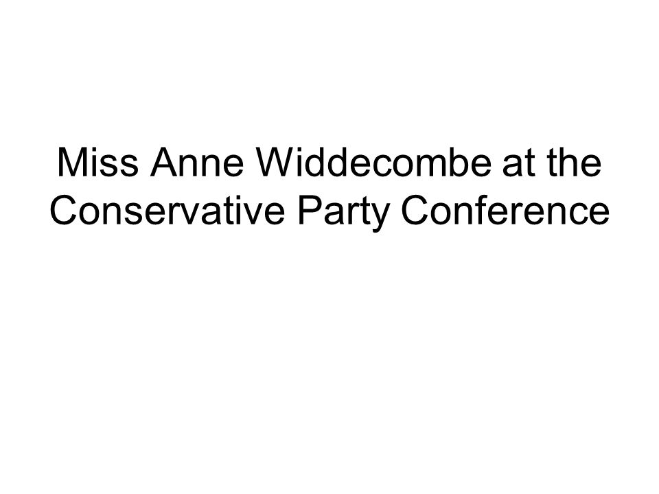 Miss Anne Widdecombe at the Conservative Party Conference
