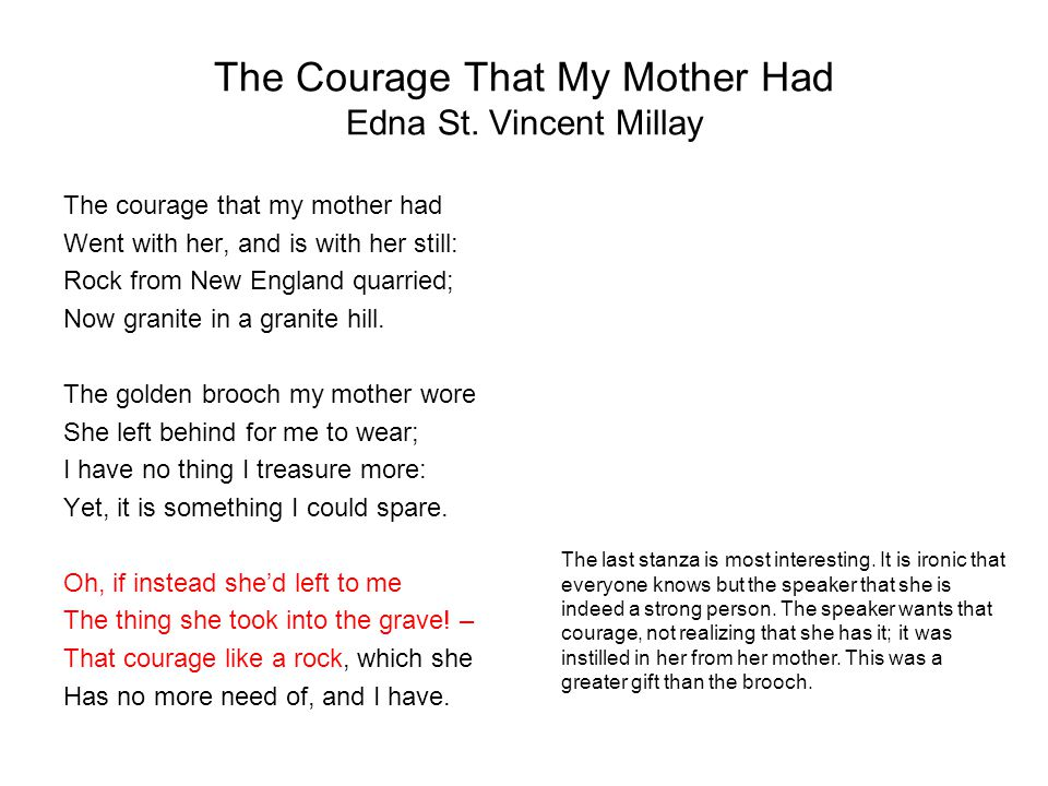 The Courage That My Mother Had Edna St. Vincent Millay The courage that my mother had Went with her, and is with her still: Rock from New England quar