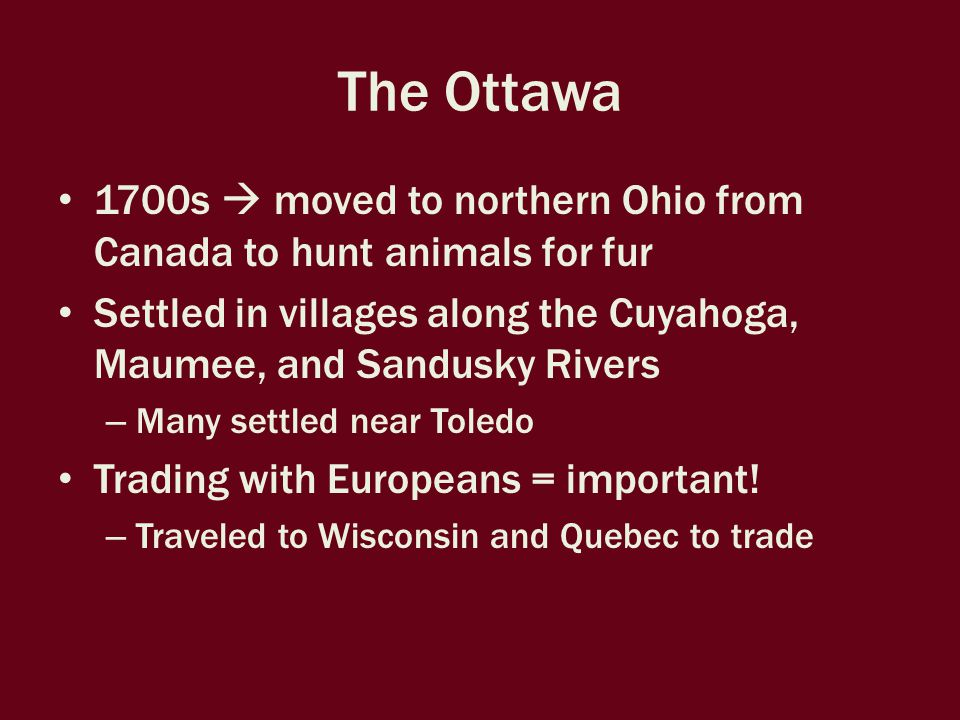 The Ottawa 1700s  moved to northern Ohio from Canada to hunt animals for fur Settled in villages along the Cuyahoga, Maumee, and Sandusky Rivers – Many settled near Toledo Trading with Europeans = important.