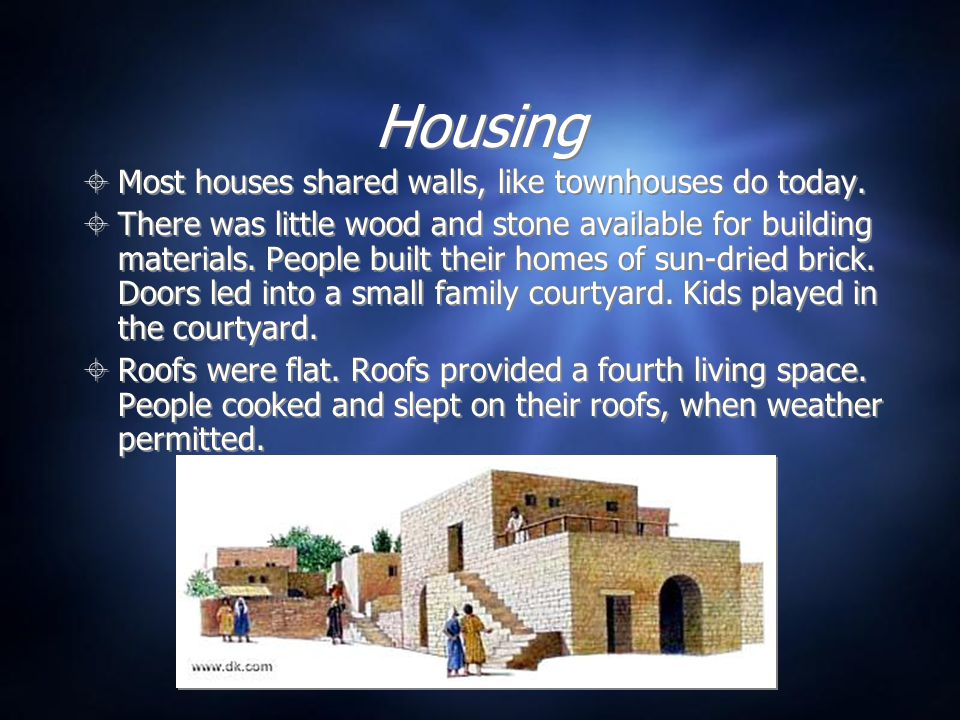 Housing  Most houses shared walls, like townhouses do today.