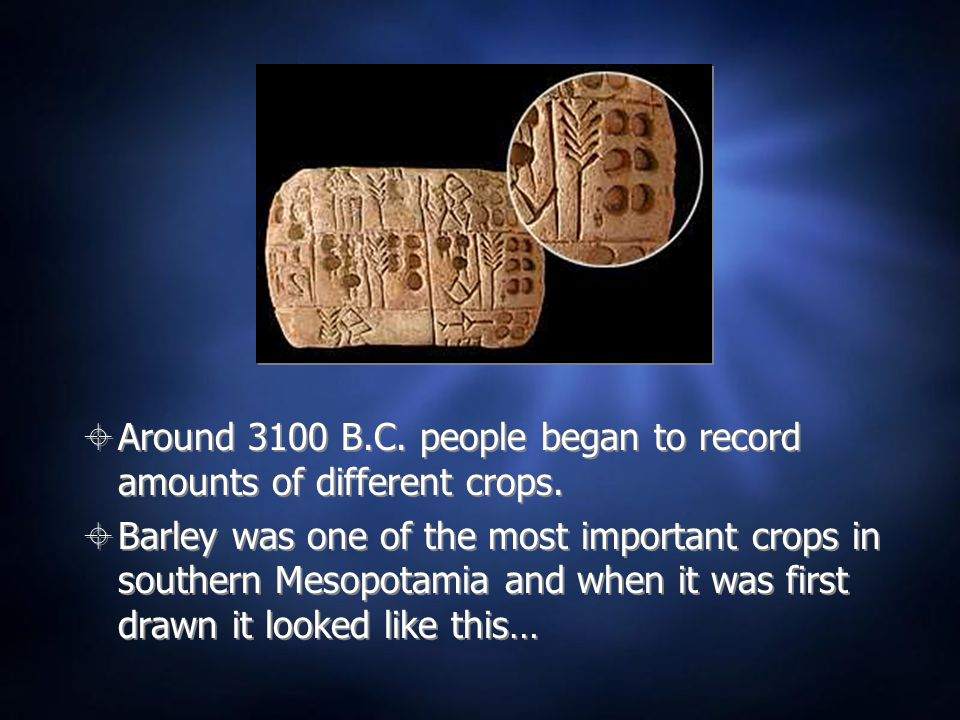  Around 3100 B.C. people began to record amounts of different crops.