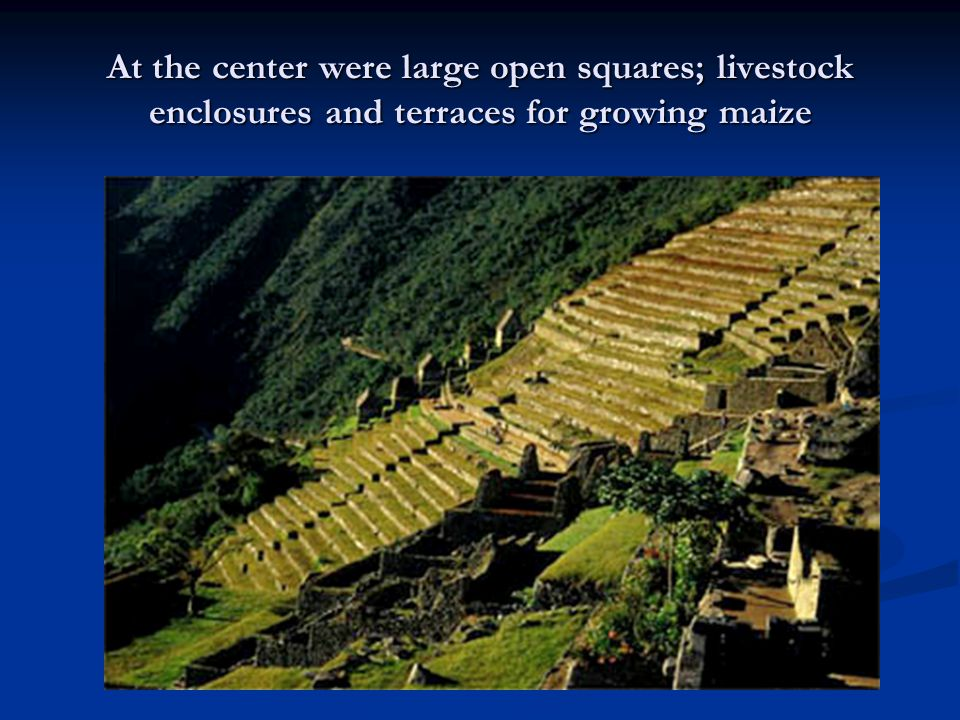 At the center were large open squares; livestock enclosures and terraces for growing maize