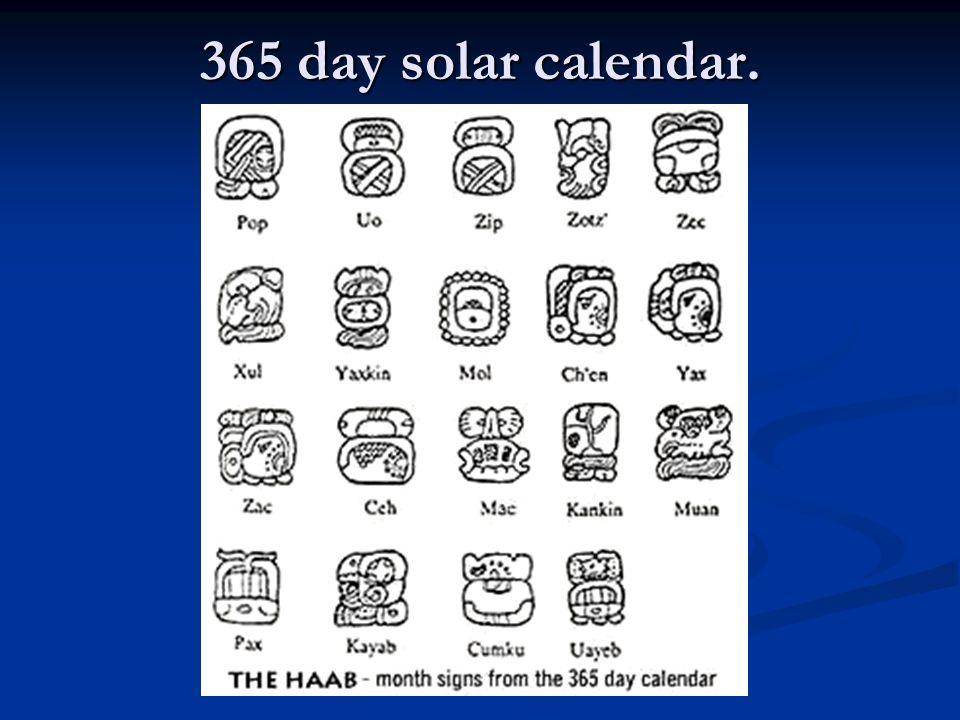 365 day solar calendar.