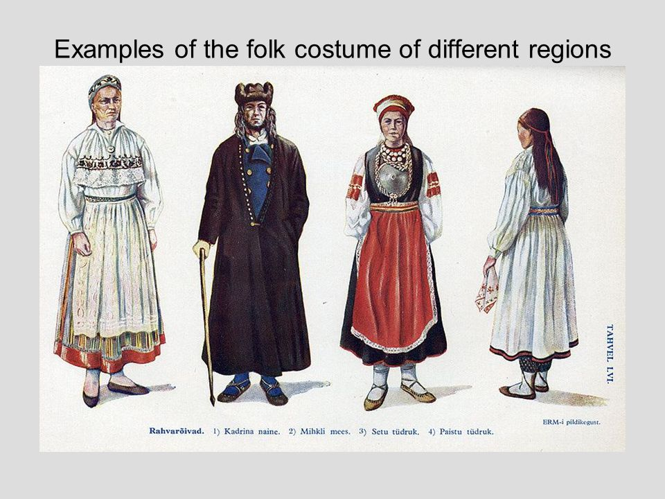 Examples of the folk costume of different regions