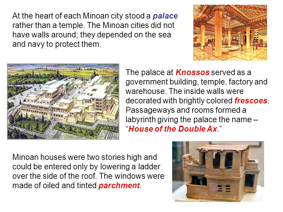 At the heart of each Minoan city stood a palace rather than a temple.