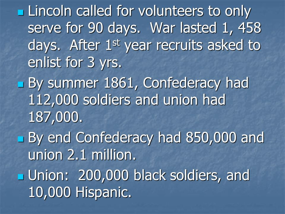Lincoln called for volunteers to only serve for 90 days.