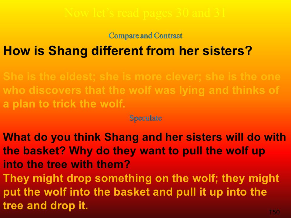 Now let's read pages 30 and 31 How is Shang different from her sisters.