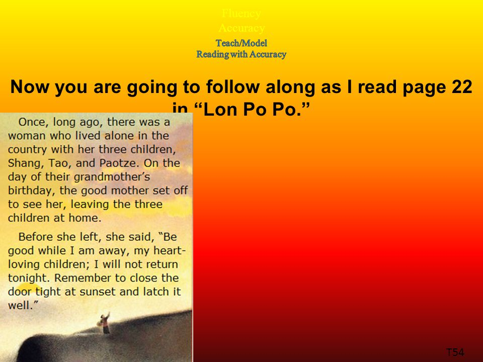 Fluency Accuracy T54 Now you are going to follow along as I read page 22 in Lon Po Po.
