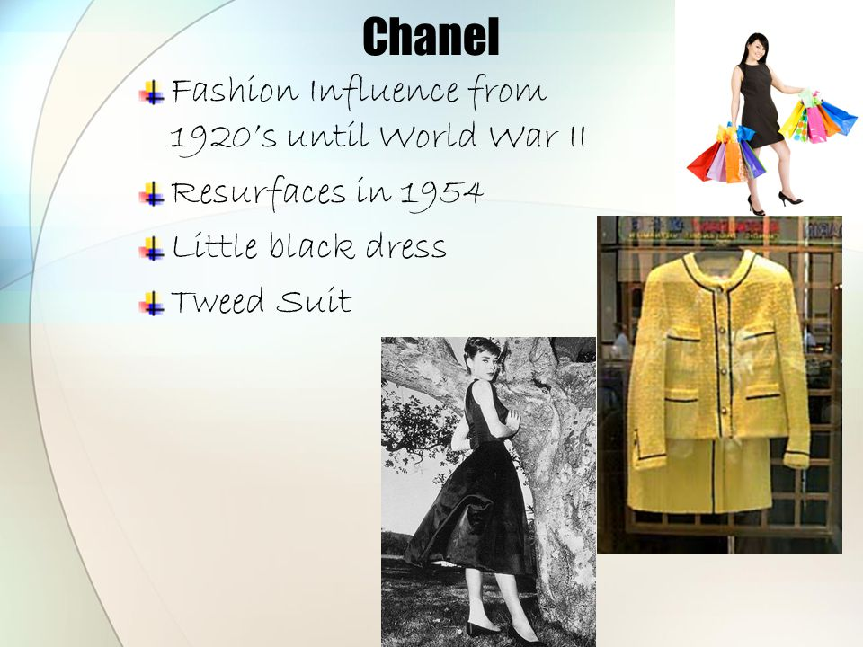 Chanel Fashion Influence from 1920's until World War II Resurfaces in 1954 Little black dress Tweed Suit
