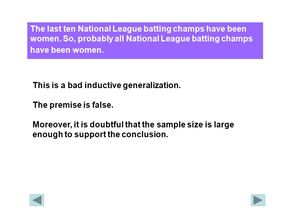The last ten National League batting champs have been women. So, probably all National League batting champs have been women. This is a bad inductive