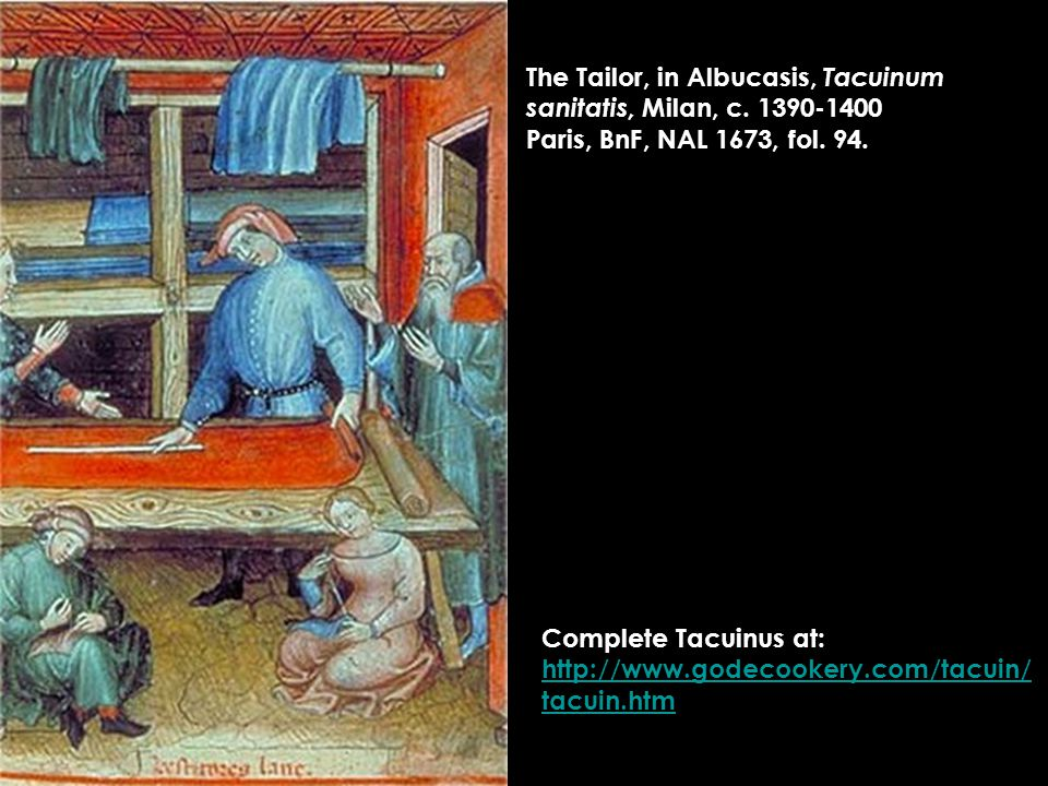 The Tailor, in Albucasis, Tacuinum sanitatis, Milan, c.