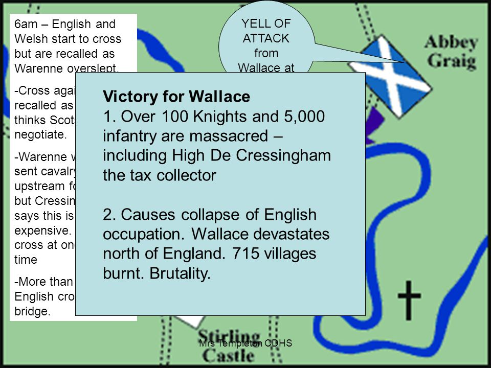 6am – English and Welsh start to cross but are recalled as Warenne overslept.
