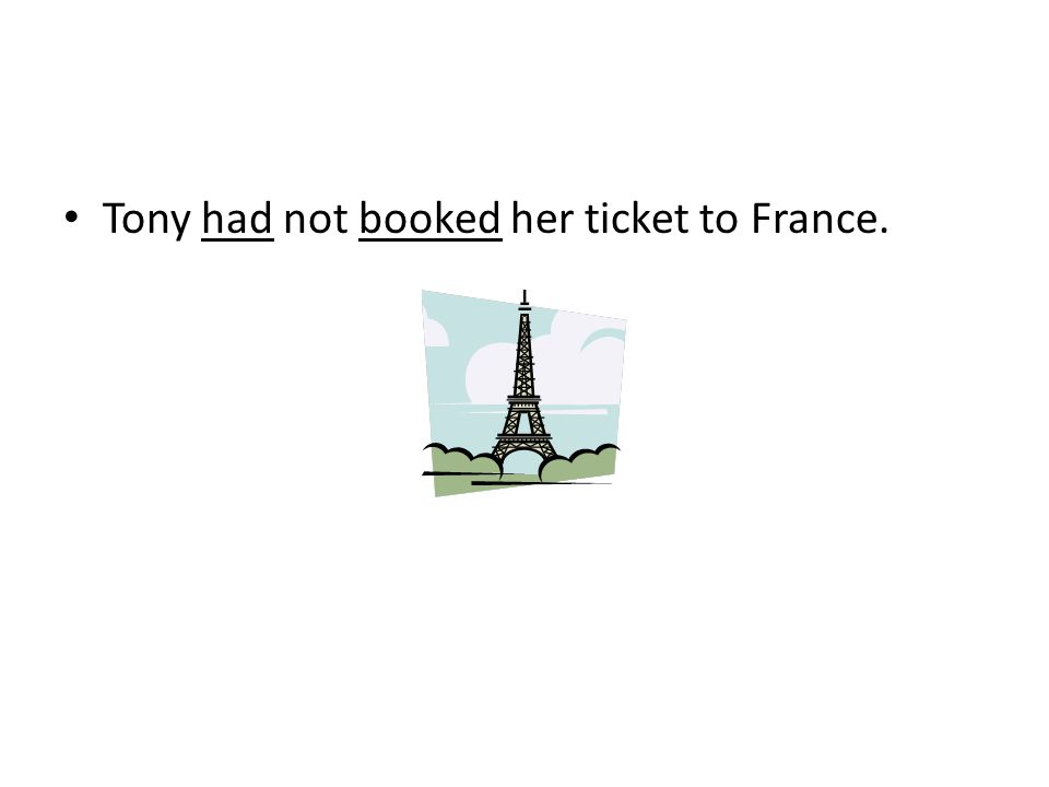 Tony had not booked her ticket to France.