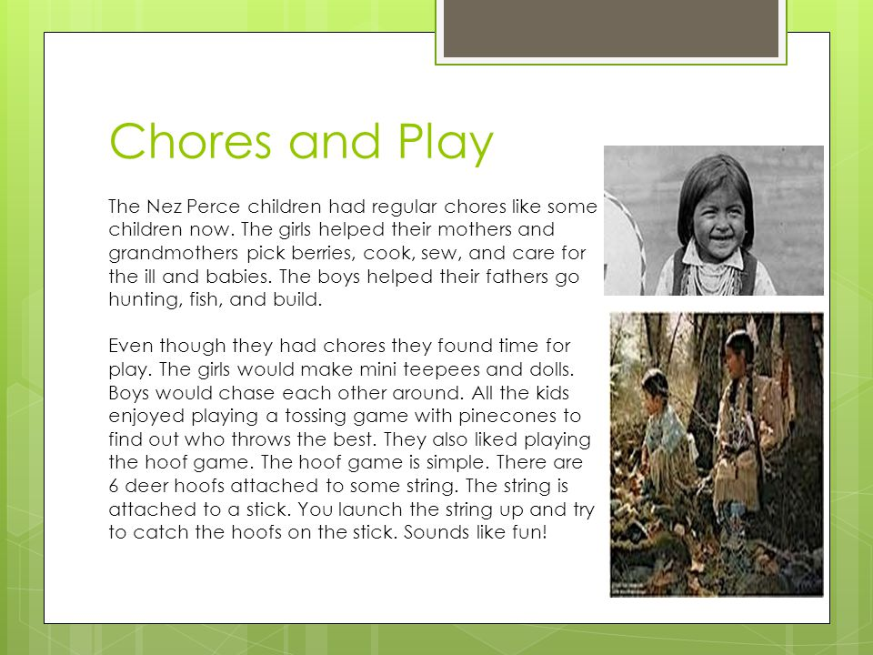 Chores and Play The Nez Perce children had regular chores like some children now.
