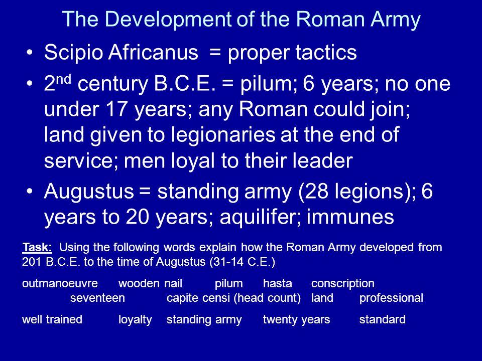 The Development of the Roman Army Scipio Africanus = proper tactics 2 nd century B.C.E.