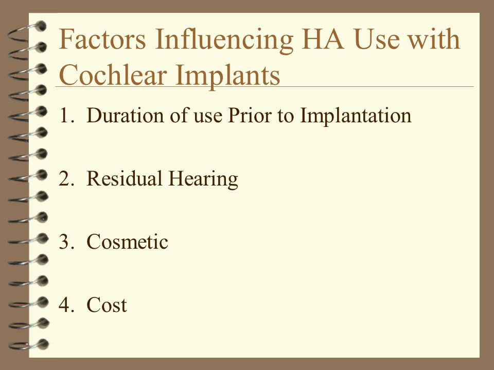 Factors Influencing HA Use with Cochlear Implants 1.