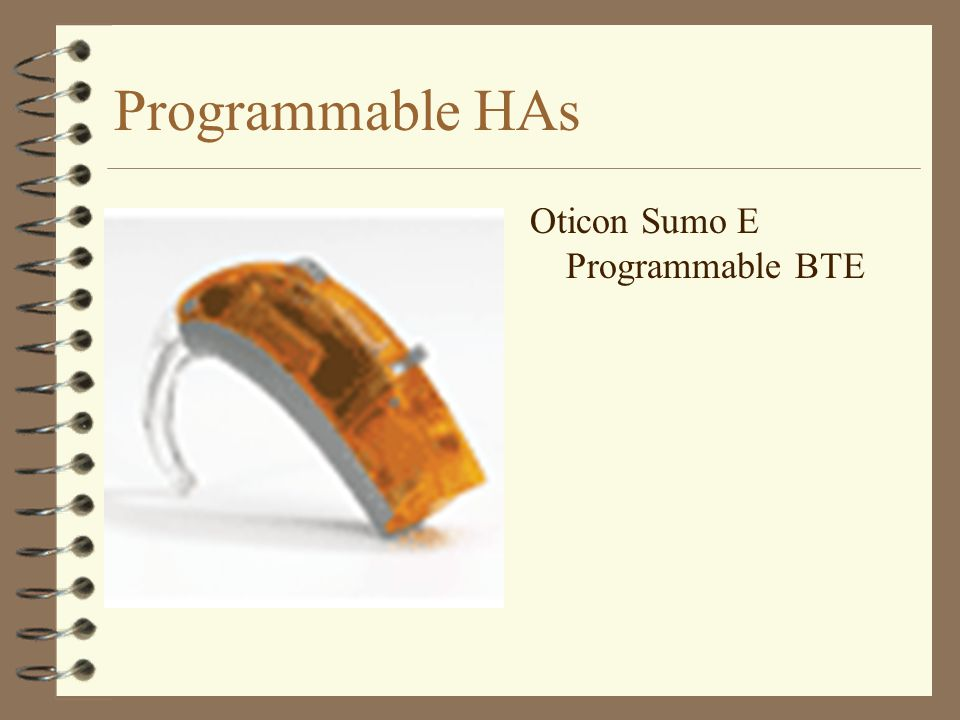 Programmable HAs Oticon Sumo E Programmable BTE