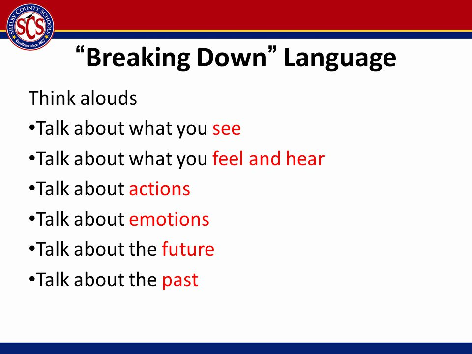 """""""Breaking Down"""" Language Think alouds Talk about what you see Talk about what you feel and hear Talk about actions Talk about emotions Talk about the"""