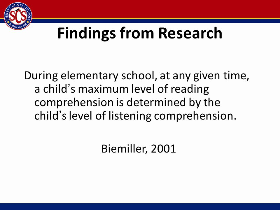 Findings from Research During elementary school, at any given time, a child's maximum level of reading comprehension is determined by the child's leve