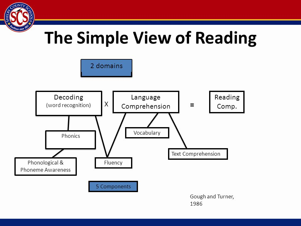 The Simple View of Reading 2 domains Decoding (word recognition) X Language Comprehension = Reading Comp. Vocabulary Text Comprehension Fluency 5 Comp