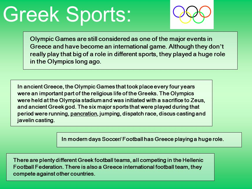 Greek Sports: Olympic Games are still considered as one of the major events in Greece and have become an international game.