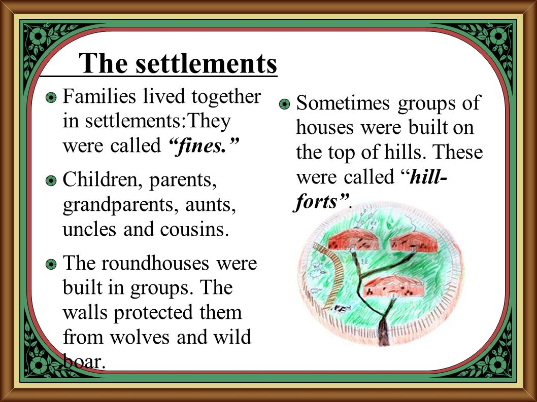 """The settlements Families lived together in settlements:They were called """"fines."""" Children, parents, grandparents, aunts, uncles and cousins. The round"""
