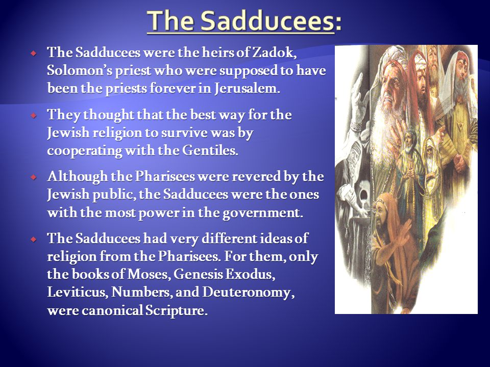  The Sadducees were the heirs of Zadok, Solomon's priest who were supposed to have been the priests forever in Jerusalem.