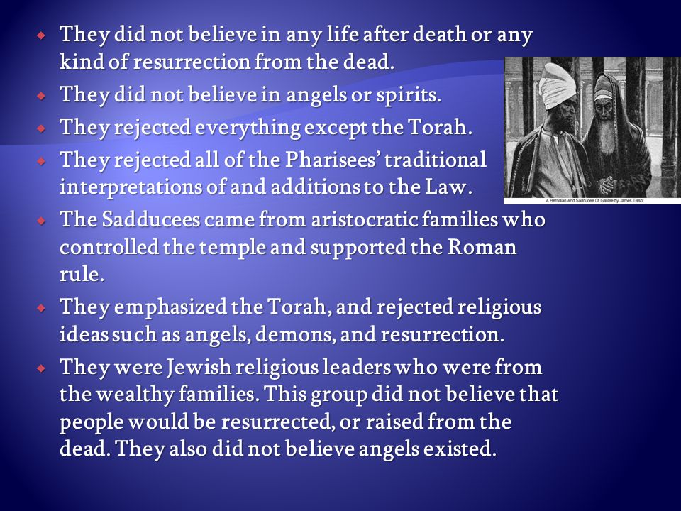  They did not believe in any life after death or any kind of resurrection from the dead.  They did not believe in angels or spirits.  They rejected