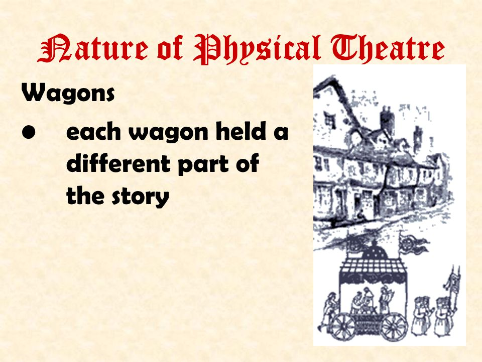 Nature of Physical Theatre Wagons each wagon held a different part of the story