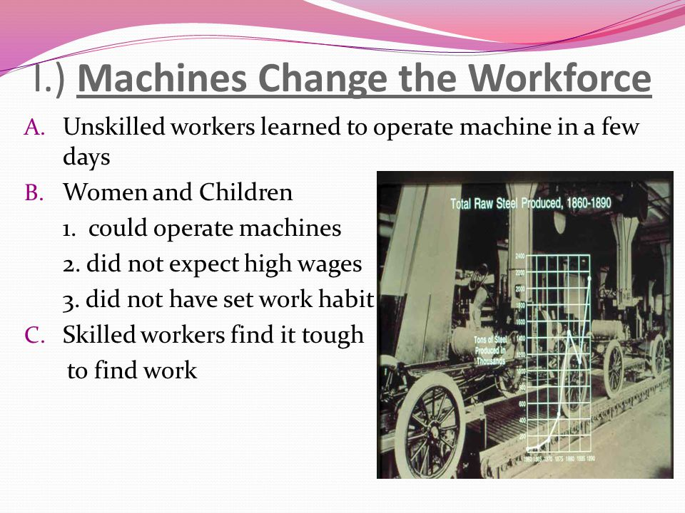 I.) Machines Change the Workforce A. Unskilled workers learned to operate machine in a few days B. Women and Children 1. could operate machines 2. did