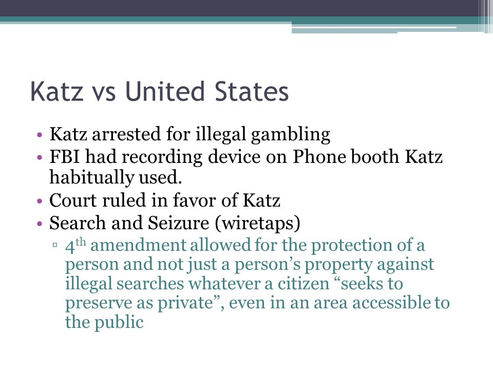 Katz vs United States Katz arrested for illegal gambling FBI had recording device on Phone booth Katz habitually used.