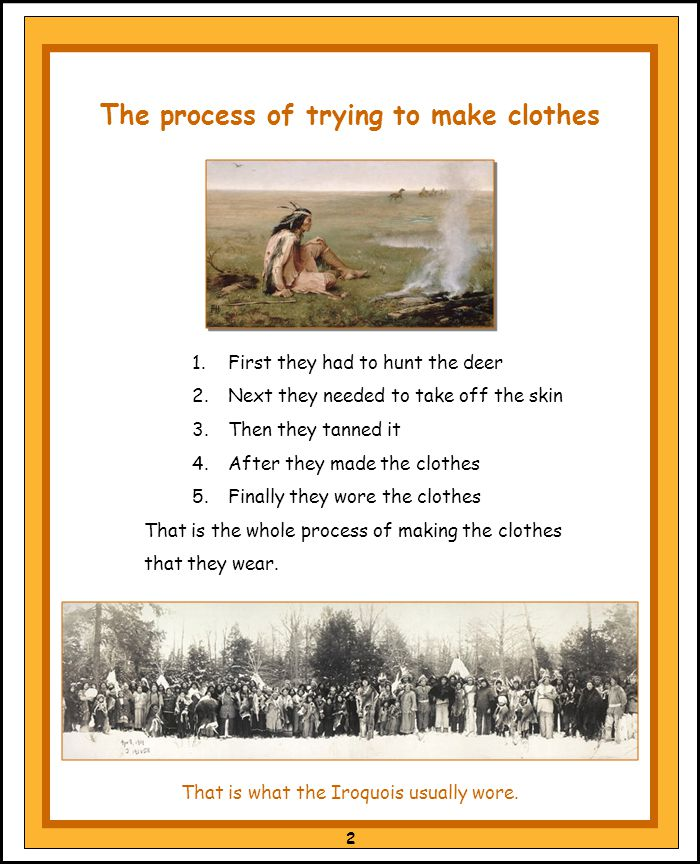 1.First they had to hunt the deer 2.Next they needed to take off the skin 3.Then they tanned it 4.After they made the clothes 5.Finally they wore the