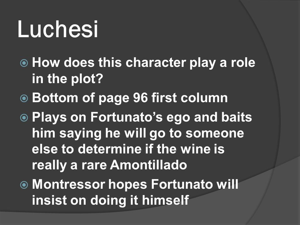 Luchesi  How does this character play a role in the plot.
