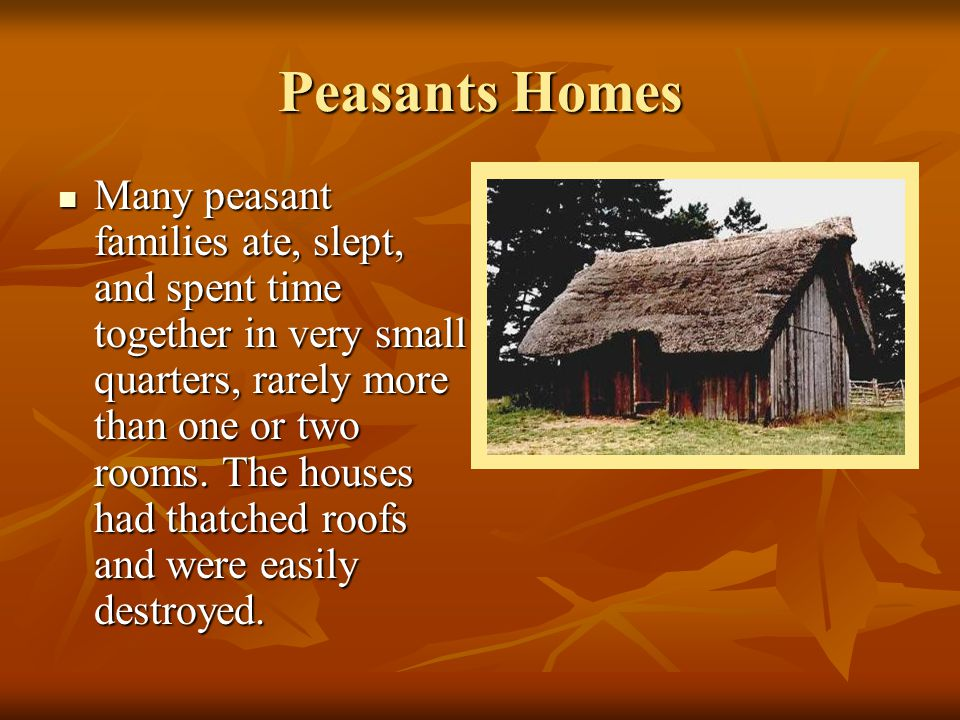 Peasants Homes Many peasant families ate, slept, and spent time together in very small quarters, rarely more than one or two rooms. The houses had tha