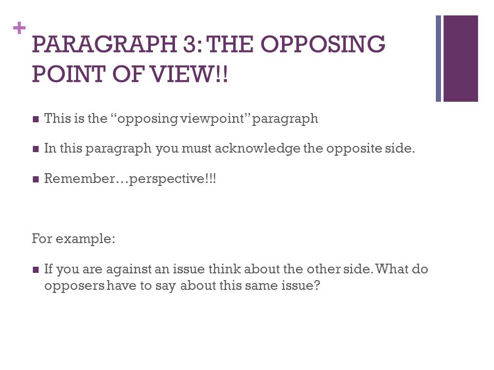 + PARAGRAPH 3: THE OPPOSING POINT OF VIEW!.