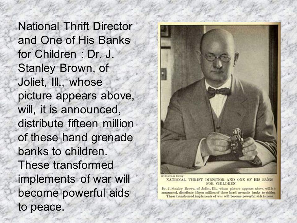 National Thrift Director and One of His Banks for Children : Dr.